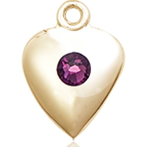 14kt Yellow Gold Heart Medal with 3mm February Purple Swarovski Crystal 1 1/4 x 1 5/8 inches by Bonyak Jewelry Saint Medal Collection