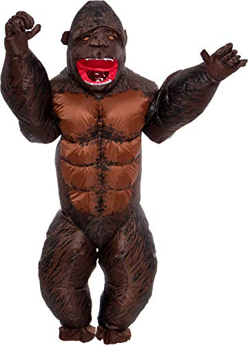 Inflatable 3D Gorilla Costume - Adult Gorilla Blow Up Full Body Halloween Costume for Men & Women Brown
