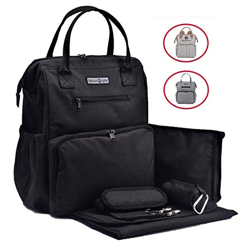 Sale!!! Rascal Gear Black Baby Diaper Bag Backpack, Tote, Shoulder or Cross Body with Insulated Bottle Pockets, Stroller Straps, Changing Pad, Wet Bag; Machine Washable! Multipurpose; Waterproof;