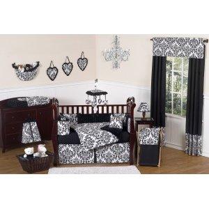 Sweet Jojo Designs 5-Piece Black and White Isabella Girls Toddler Bedding Set (Fashionista Comforter Set)