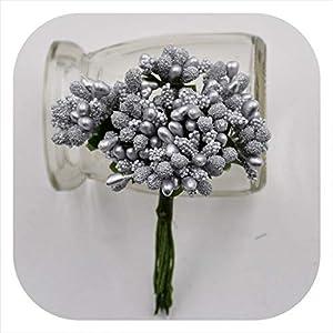 Memoirs- 12Pcs/Lot Handcraft Artificial Flowers Stamen Sugar Wedding Party Decoration DIY Wreath Gift Box Scrapbooking Fake Flowers,Silver 47