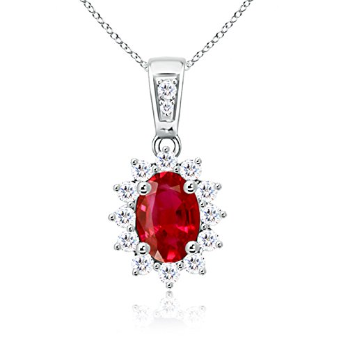Oval Ruby Pendant with Diamond Halo in 14K White Gold (7x5mm Ruby)