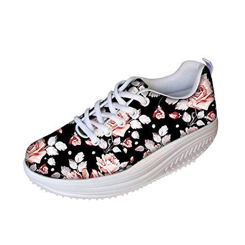 (FOR U DESIGNS Sweet Stylish Rose Style Women's Breathable Comfort Platform Sneakers Shoes US)