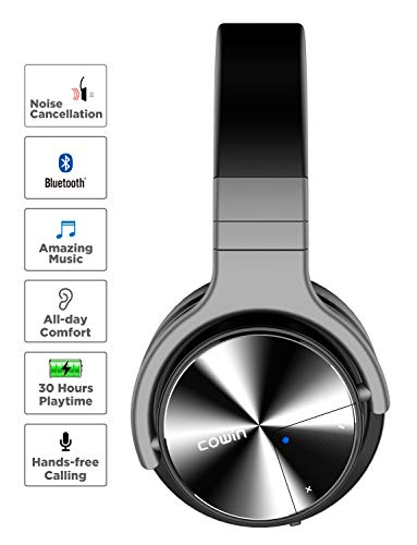 COWIN E7 PRO [Upgraded] Active Noise Cancelling Headphones Bluetooth  Headphones with Microphone/Deep Bass Wireless Headphones Over Ear 30 Hours
