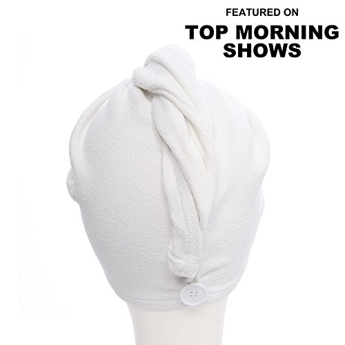 Aquis - Original Hair Turban, Patented Perfect Hands-Free Microfiber Hair Drying, White (10 x 26 Inches)