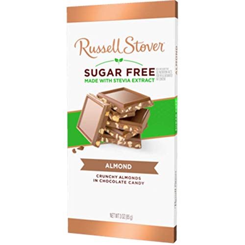 Russell Stover Sugar Free Milk Chocolate Almond Tile Bar, 3 oz