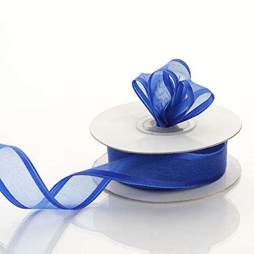 7/8 inch x 10 Yards Wired Satin Edge Organza Ribbon Wedding Favors Invitations (Royal Blue)
