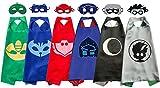 Pajama Hero Mask Costumes and Dress Up for Kids - Catboy Owlette Gekko Romeo Luna Girl Night Ninja Capes and Mask 6 Sets
