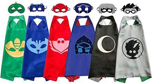 Pajama Hero Mask Costumes and Dress Up for Kids - Catboy Owlette Gekko Romeo Luna Girl Night Ninja Capes and Mask 6 Sets