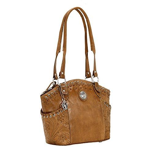 American West Harvest Moon Zip-Top Bucket Tote,Golden Tan,One Size (American Handbag West)
