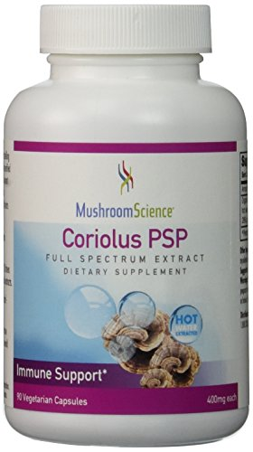 Coriolus PSP 400mg 90 Capsules Turkey Tail Immune Heath *NEW Updated Label* by Mushroom Science