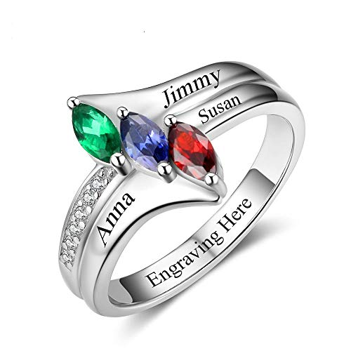 Roy Rose Jewelry Sterling Silver Personalized Three Marquise Shape Birthstone 3 Name Custom Engraved and Inside Band Mother's Ring Select from Sizes 6 to 9
