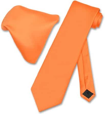 Vesuvio Napoli Solid ORANGE Color NeckTie & Handkerchief Men's Neck Tie Set