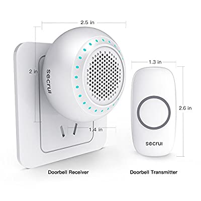 Waterproof Wireless Doorbell, Doorbell chime Kit with LED Light SECRUI,32 Chimes 4 Levels of Volume Range From 25-130dB.1 transformer works up to 20 receivers,No battery required for receiver