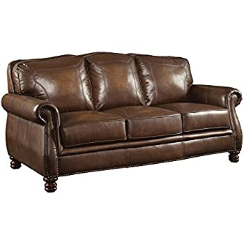 Coaster Montbrook Traditional Hand Rubbed Brown Sofa With Rolled Arms And  Nail Head Trim