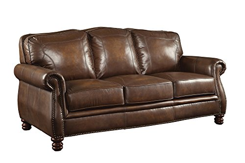 Coaster 503981 Home Furnishings Sofa, Hand Rubbed Brown - Nailhead Trim Leather Sofa