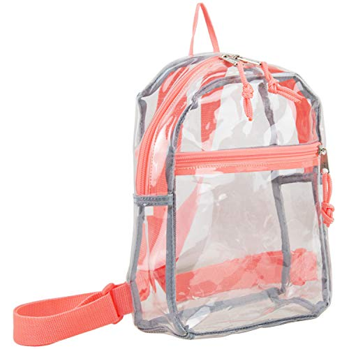 - Eastsport 100% Transparent Clear MINI Backpack (10.5 by 8 by 3 Inches) with Adjustable Straps, Clear/Peach Cluster