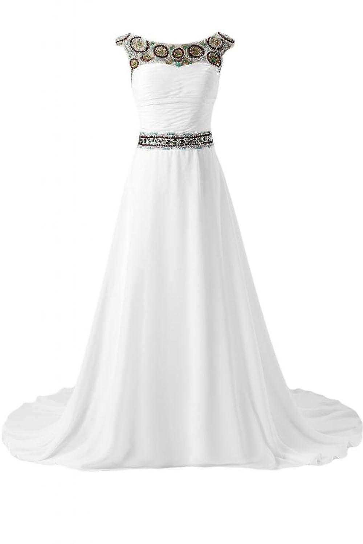 Sunvary Elegant Long Chiffon Bateau Sleeveless V Back Evening Prom Gowns