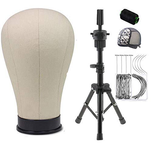 Yundxi Professional Canvas Block Head 21-23 Inch Mannequin Wig Heads Set with Adjustable Tripod Stand for Salon DIY Wigs Display Hair Making Styling(23 Inch)