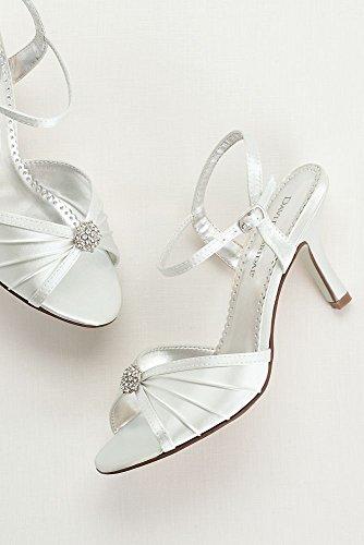 Davids Bruidsverfbare Satijn Geplooide Schoen Met Ornamentachtige Eclairewhite Wit