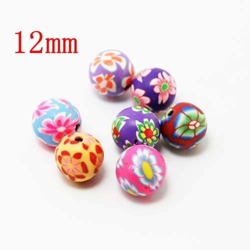 sorted Colors Ball Round Fimo Polymer Clay Ceramic Spacer Loose Beads 6 8 10 12mm Pick Size for Jewelry Making DIY - (Color: 12mm) ()