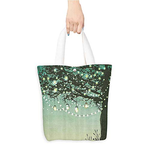 Shopping Tote BagAmbesonne Magic Home Decor Collection Lanterns and Lamps Hanging on A Tree Branch Decorative Backyard Party Illustration Polyester Fabric Bathroom Sho(W15.75 x L17.71 Inch)