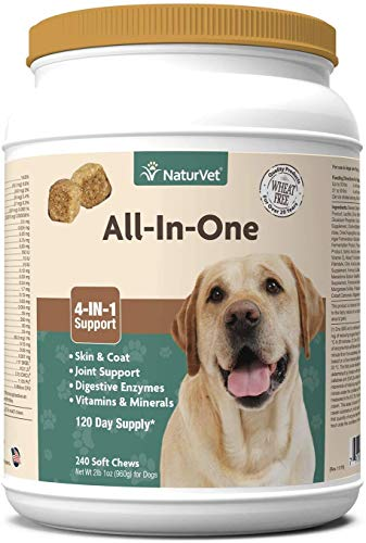 NaturVet All-in-One Dog Supplement – for Joint Support, Digestion, Skin, Coat Care – Dog Vitamins, Minerals, Omega-3, 6, 9 – Wheat-Free Supplements for Dogs – 240 Soft Chews
