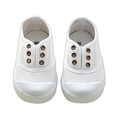 ALUK- Zapatos de niños de lona Zapatos blancos pequeños Zapatos de bebé Zapatos de estudiantes ( Color : Blanco , Tamaño : 25 ) Blanco