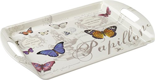 Stow Large Melamine Serving Tray With Handles Butterfly Design
