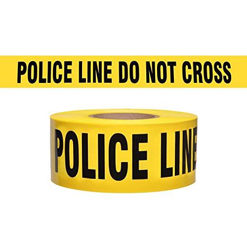 (WOD BRC-PLDNC Barricade Caution Tape - 3 inch x 1000 feet - High Visibility Bright Yellow w/Bold Black Text