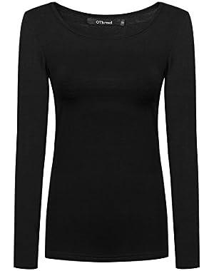 Women's Long Sleeves T-Shirt Scoop Neck Plain Basic Spandex Tee