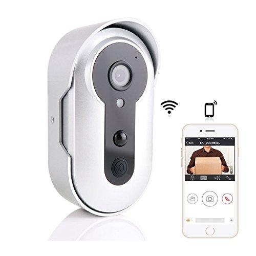 Onlyesh Wireless HD Video Doorbell, Night Vision Camera Doorbell,WiFi Smart Visual Intercom Enabled Video Doorbell with Battery Powered,Phone Remote Control Camera Doorcam - Powerd Cameras Battery