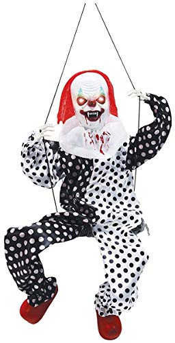 Large Lighted Kicking Clown on Swing Scary Halloween Decoration Party -