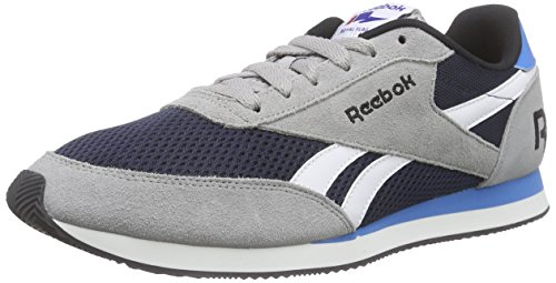 Reebok Royal CL Jog 2RS Zapatillas de running, Niños Gris / Azul / Blanco / Negro (Tin Grey/Coll Navy/White/Black/Eletric B)