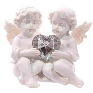Cherubs Holding Crystal Heart Shaped Gem