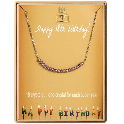 18th Birthday Gifts Necklace for Girls S925 Sterling Silver Necklace 18 Crystal Beads for 18 year old Girl Jewelry Gift for Her (Best Birthday Gift For 18 Year Girl)