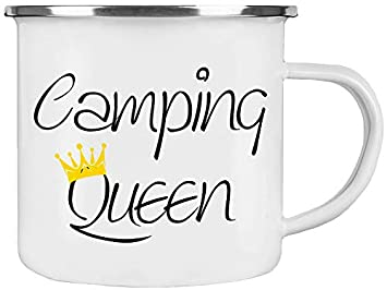 CAMPING Emaille-Tasse mit Wunschname Campingbecher Outdoor ❤︎ personalisiert ❤︎