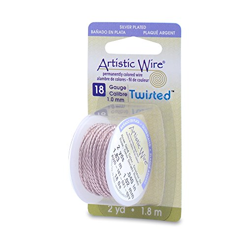 Artistic Wire 18-Gauge Twist Round Jewelry Making Wire, 2-Yards, Rose Gold