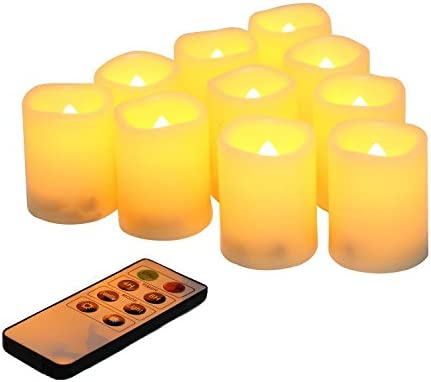 Flameless Votive Candles with Remote Control and Timer Bulk Set of 10 Tealight Candles Realistic Outdoor Flickering Battery Operated LED Tea Lights Batteries Included 200Hours
