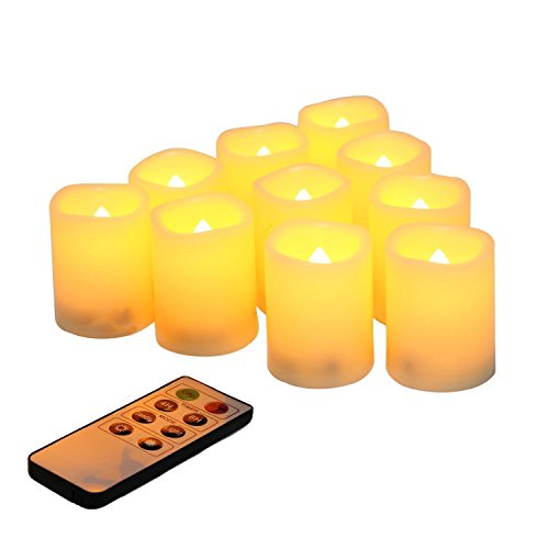 Flameless Votive Candles with Remote Control and Timer Bulk Set of 10 Tealight Candles/Realistic Outdoor Flickering Battery Operated LED Tea Lights (Batteries Included) 200Hours]()