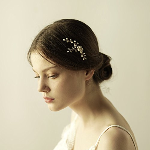 Drhob Gold Bridal Hair Comb Hairpin Wedding Headpiece Handmade Pearl Hair Ornament Clip Piece Hair Accessories for Girlfriend, Wife, Mom