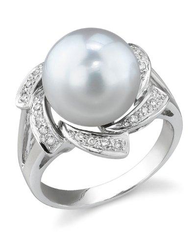 THE PEARL SOURCE 18K Gold 11-12mm Round Genuine White South Sea Cultured Pearl & Diamond Nova Ring for Women Diamonds 12mm South Sea Pearl