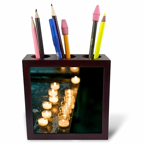 3dRose Danita Delimont - Candles - Belgium, Brussels. Candles in Cathedral of St. Michael and St. Gudula - 5 inch tile pen holder -