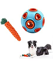 Dog Toy Ball with Bell and Pet Toys Carrot, Interactive Dog Chew Toys Teeth Cleaning Rubber Balls Dog Teething Toys for Small Medium Large Dogs (Dog Toy Ball & Dog Toy Carrot)