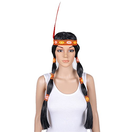 Indian Style Black Long Straight Braid Feather Costume Cosplay Full Wig (Braids Costume Wig)