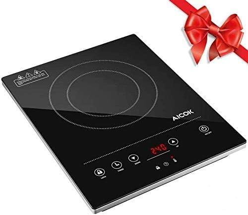 Aicok Placa inducción portatil, Placa de inducción, slim, 2000W, controles táctiles, función lock, temporizador, 10 niveles de temperatura, superficie ...