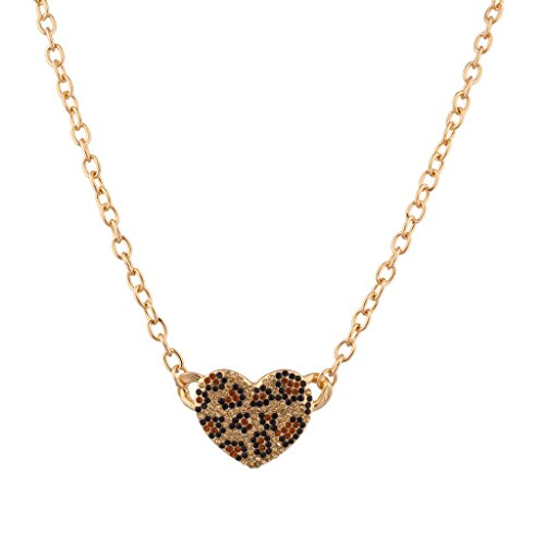 - Lux Accessories Leopard Animal Print Pave Heart Pendant Chain Link Necklace