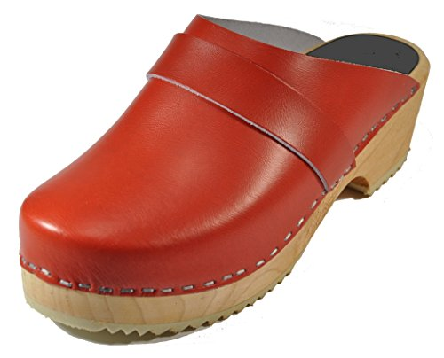 World of Clogs.com Toffeln Classic klog 310 Classic Traditional Wooden Clogs - Red Red 4yC7pSq8