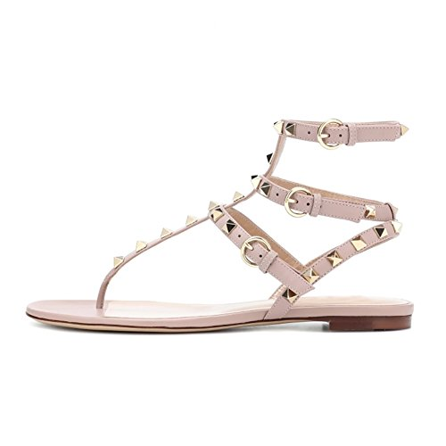 With Strap Rivets Women's Ankle VOCOSI Thongs Summer Flat matte Gold Sandals Strappy Rivets Natural Rockstuds wXd67q