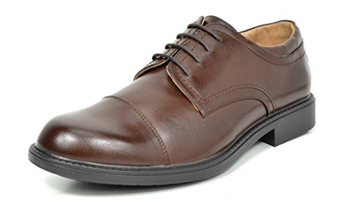 Bruno Marc Men's Downing-01 Dark Brown Leather Lined Dress Oxfords Shoes Size 13 M (Brown Leather Dress Oxfords)